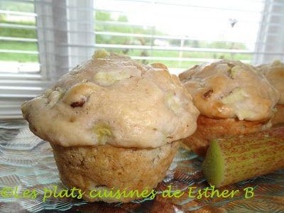 Les plats cuisinés de Esther B: Muffins à la rhubarbe, noix et babeurre