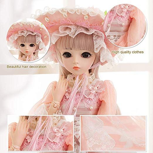 """24/"""" 1//3 BJD Doll Princess Girl With Full Set Dress Clothes Changeable Eyes Wigs"""