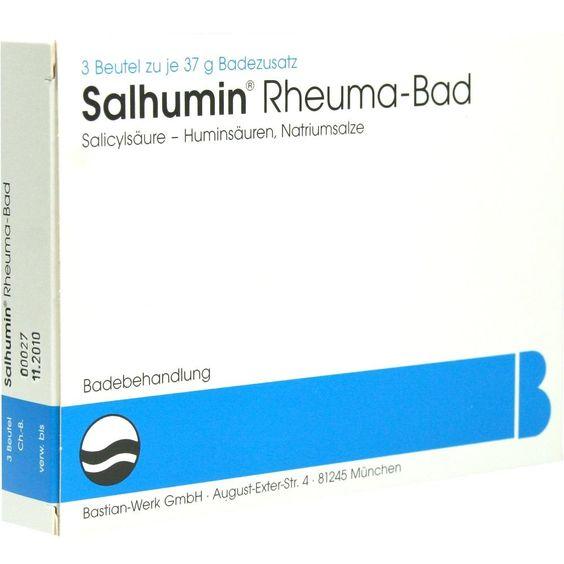 SALHUMIN Rheuma Bad:   Packungsinhalt: 3 St Bad PZN: 00839984 Hersteller: Bastian-Werk GmbH Preis: 5,51 EUR inkl. 19 % MwSt. zzgl.…