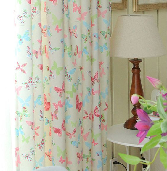 Colorful Butterfly Curtain. Curtain Panel With Pink Blue Butterfly ...