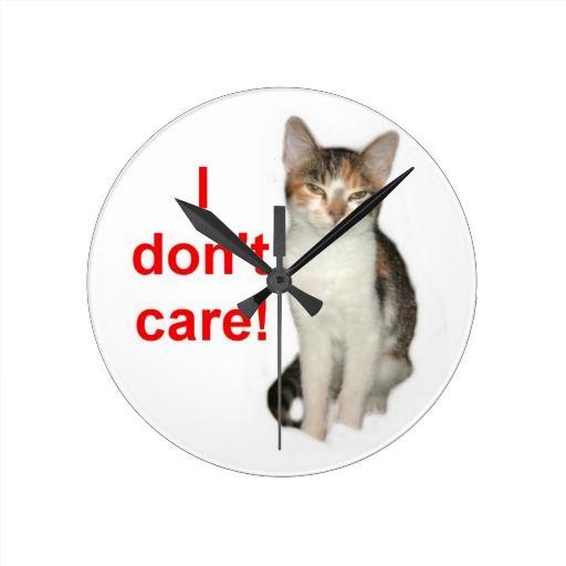 Blunt Kitty Round Clocks  #zazzle #mean #sarcastic #kitty #cat #customize http://www.zazzle.com/conquestkitty*