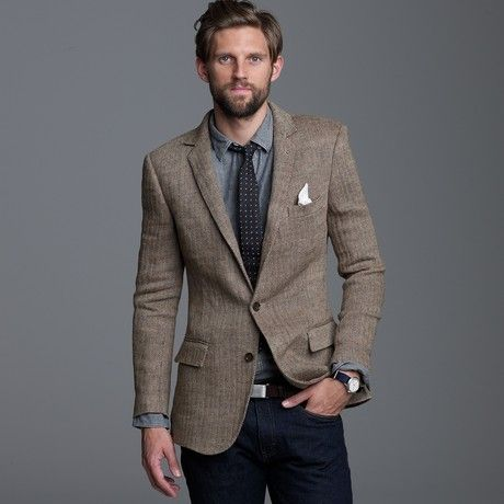 Men's Brown Linen Herringbone Sportcoat in Ludlow Fit | Blazers ...