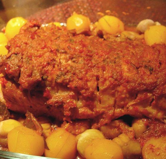 Carne assada com castanhas