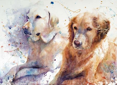 """The Girls on a Windy Day"" Kim Johnson, watercolor  ~~With a full focus on the human and animal experiences, Kim uses glazes and washes, wet and dry technique, and positive and negative space breathes life into her pieces.  Kim and her husband make their home in Phoenix, Arizona."