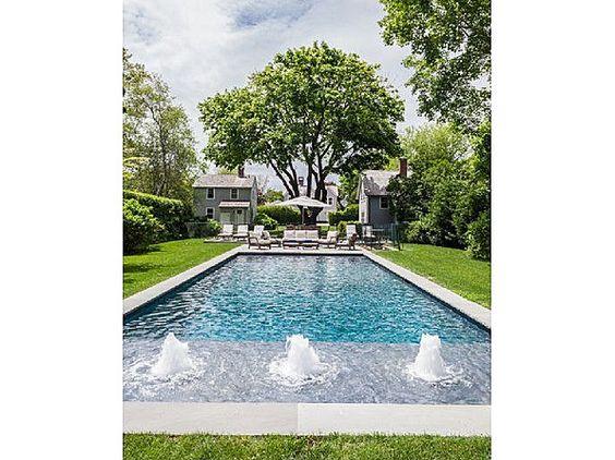 Gurgle, burble, bubble! #pool #fountain #backyards