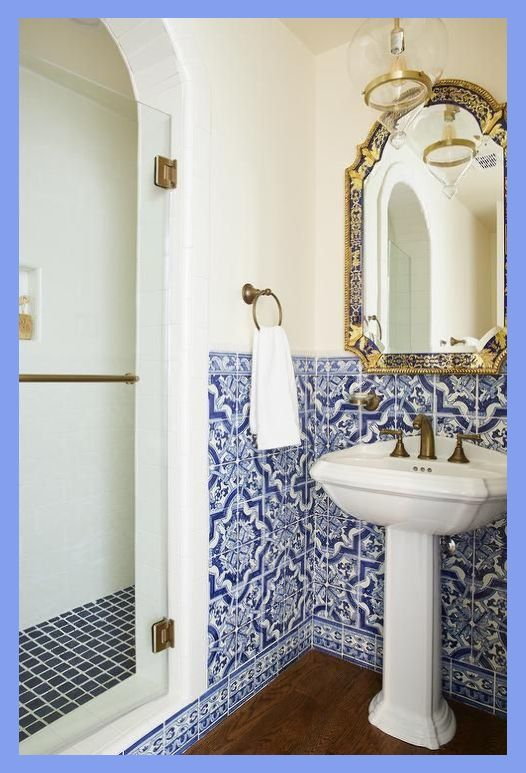 Mediterranean Bathroom Design Boasts Blue Moroccan Style Wall