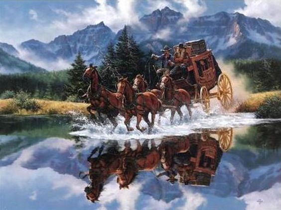 Image result for stagecoach western art