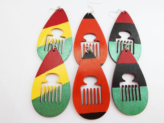 New to TheBlackerTheBerry on Etsy: Afrocentric Earrings Pick Earrings Afro Pic Earrings Ladies Afro Earrings  Red Black Afro Comb Earrings Large Earrings Wood Earrings Cute
