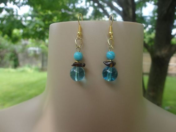 Handmade Turquoise, Brown Glass and Clear Turquoise Glass Bead Earrings  #Handmade #DropDangle