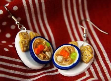 Plastic food earrings