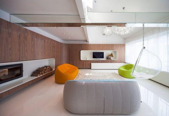 Modern lakás tetőterasszal a VI. kerületben - lágyított sarkok, dinamikus formák