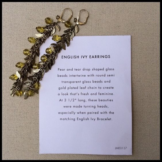 COMING SOON English Ivy Earrings Make a sophisticated statement and adorn your lobes with a cascade of gold plated leaves and citrine-colored glass stones! Excellent condition, will ship in original box. Jewelmint Jewelry Earrings