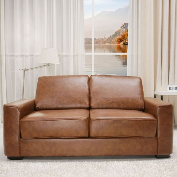 Leather Sofa Bed Brown Vintage Foam Seat Wood Wooden Fold Out Double 2 Seater