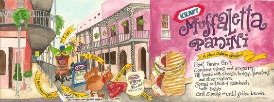 Muffaletta Panini, drawn by Alicia Jarchow  #KraftRecipes #Illustration #TheyDrawAndCook #sandwich