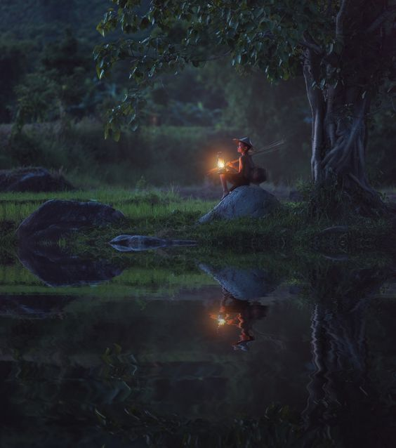 The hope of a boy with a lantern lighting - Don't give up hope. It always happens when you least expect it. . The hope of a boy with a lantern lighting while out fishing in the dark
