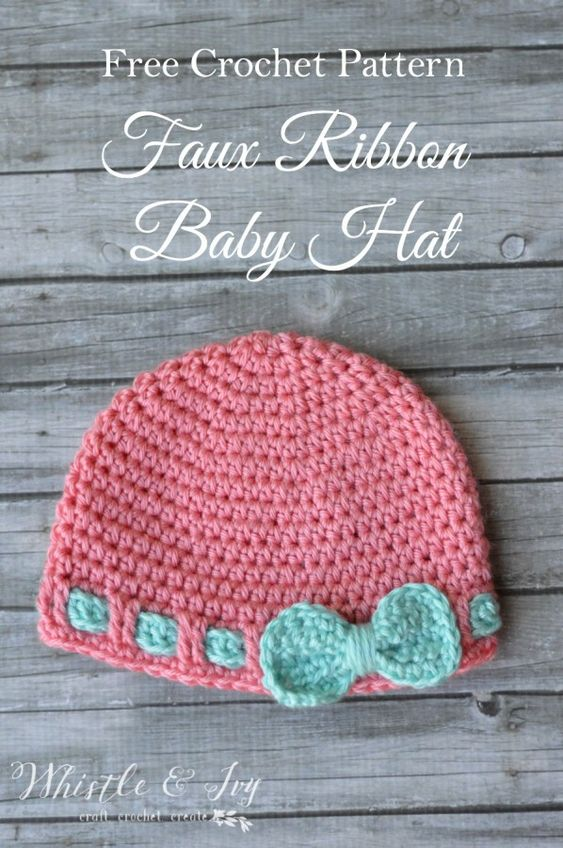 Free Crochet Pattern- Faux Ribbon Baby Hat. Make this cute and easy ...