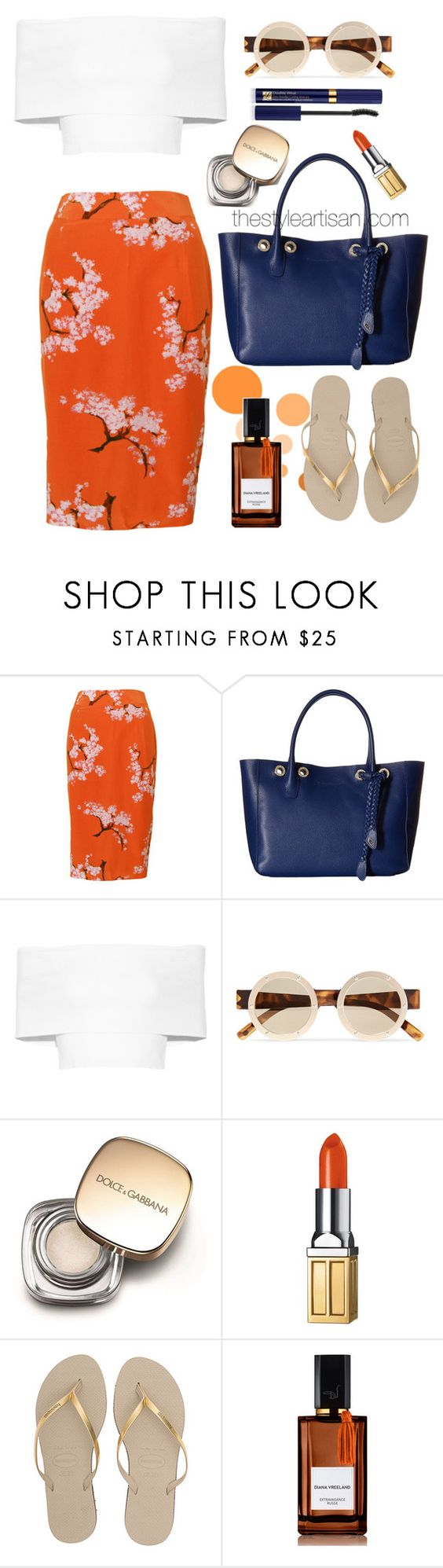 """Pre-owned Project D 'Thelma' Silk Summer Print Pencil Skirt"" by thestyleartisan ❤ liked on Polyvore featuring Project D London, Cole Haan, Rosetta Getty, Le Specs, Dolce&Gabbana, Elizabeth Arden, Havaianas, Diana Vreeland Parfums and Estée Lauder"