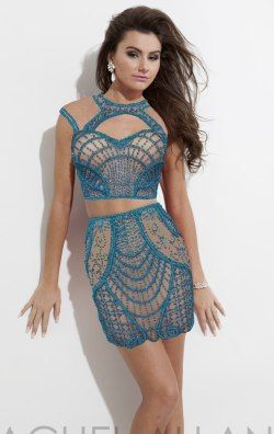 Embellished Two Piece Mini Dress by Rachel Allan 6637