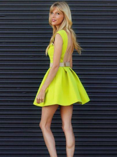clothing bcbgmaxazria sierra printed neon dress yellow
