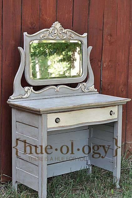 dresser made into a desk by removing bottom drawers - painted with chalk paint