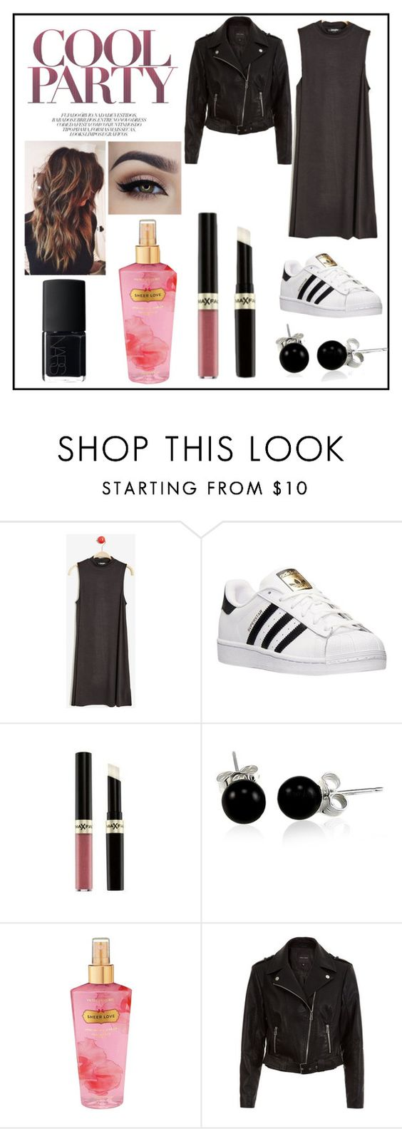 """""""Cool Party"""" by chloenav23 ❤ liked on Polyvore featuring adidas, Bling Jewelry, Victoria's Secret, New Look and NARS Cosmetics"""