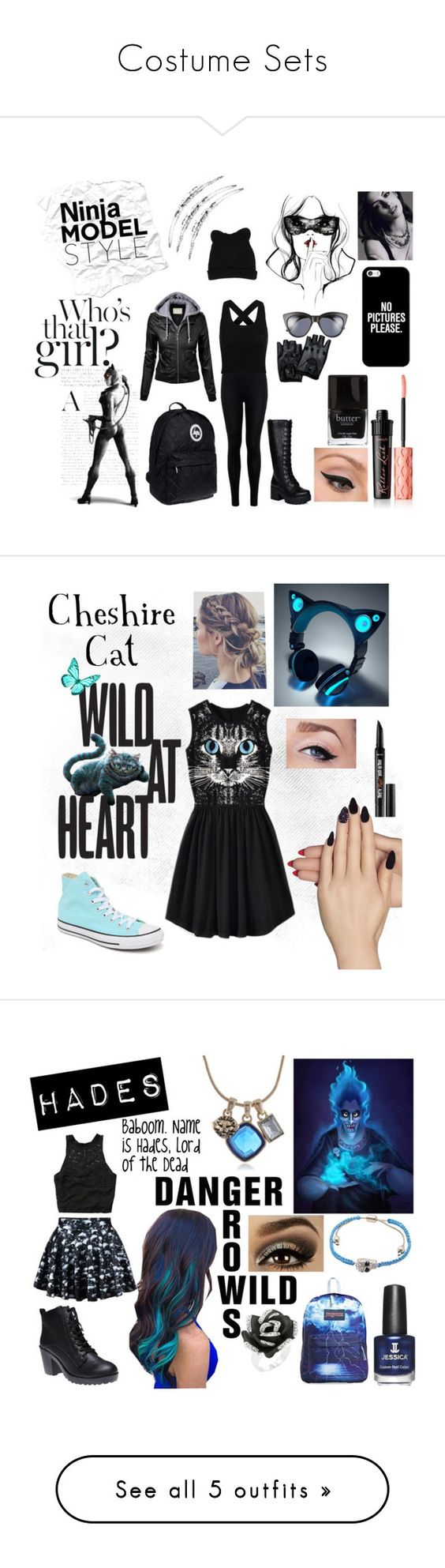 """""""Costume Sets"""" by jessie-makes-outfits ❤ liked on Polyvore featuring Masquerade, Miss Selfridge, A.J. Morgan, Casetify, Benefit, LORAC, Butter London, George J. Love, Static Nails and Converse"""