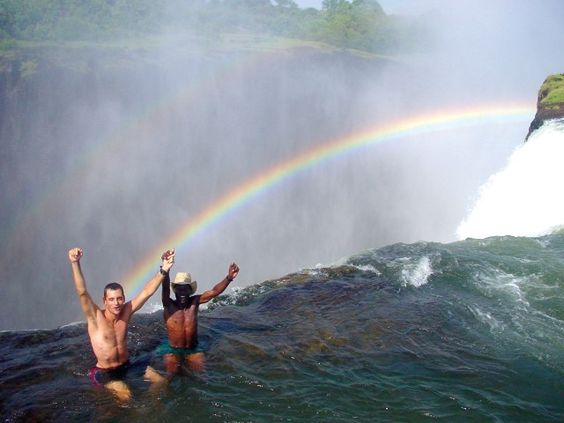 "Livingstone | Zambia | Victoria Falls - THIS IS REALLY COOL.  I'VE SEEN OTHER PEOPLE SITTING IN THIS ""POOL""."