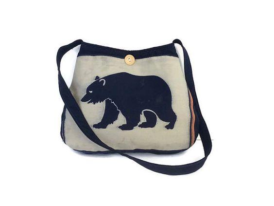 birkin bag cost - Bear tote bag, blue tan purse, vintage button purse, navy blue ...
