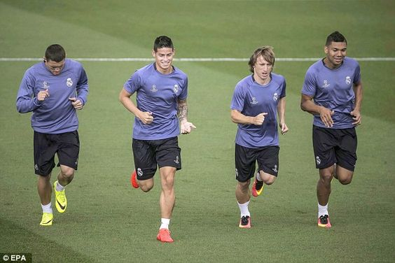 Real Madrid stars train ahead of their opening Champions League fixture at home to Sporting