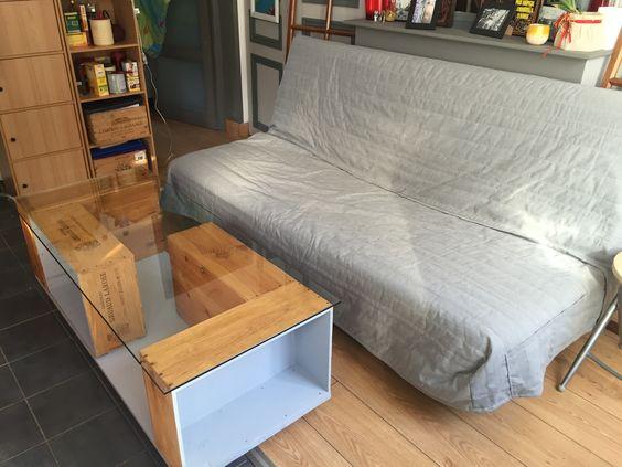 table basse partir de caisses vin caisse de vin pinterest tables. Black Bedroom Furniture Sets. Home Design Ideas
