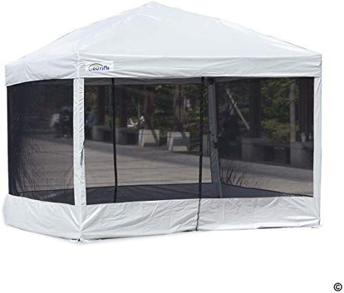 New Goutime 10 X 10 Ft Pop Up Canopy Tent With Mesh Side Walls Outdoor Screen House With Wheeled Carry Bag Suitab Canopy Tent Pop Up Canopy Tent Screen House