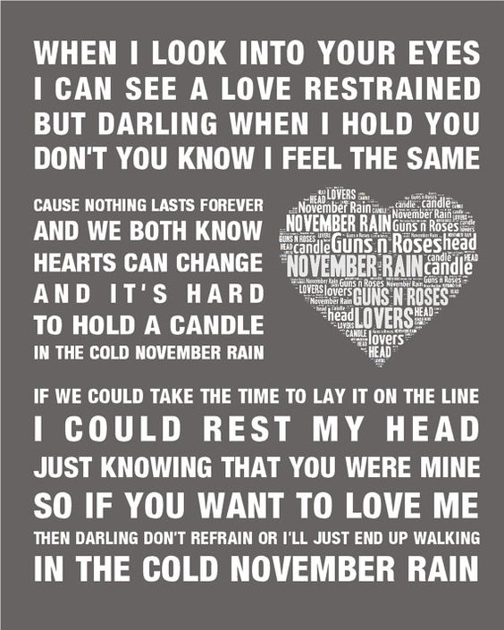 Free Weights Your Design Lyrics: Guns N Roses November Rain Music Love Song Lyrics Word Art