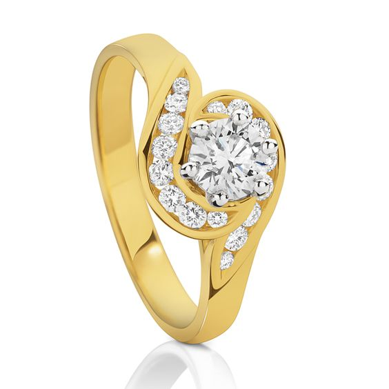Diamond Engagement Ring - 18 ct Gold set with 0.75 Carat of Diamonds    www.loloma.com.au
