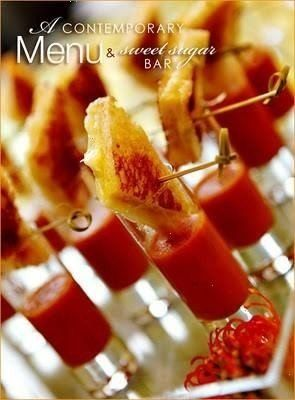 Grilled cheese and tomato soup shots. Lets rethink this, how about a bloody mary garnished with a mini grilled cheese.