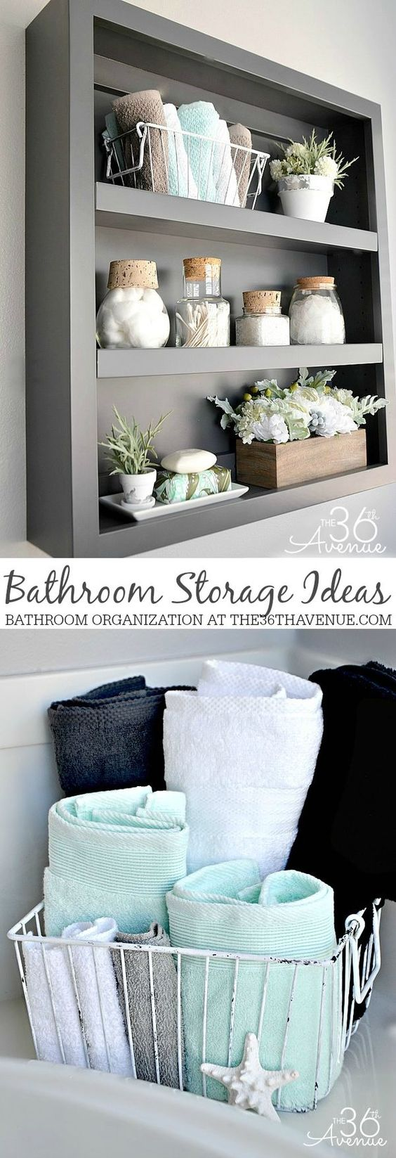 Bathroom Storage and Organization Ideas at the36thavenue.com  #cleaning #bathroom: