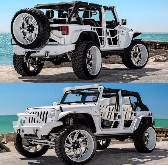 Lifted all white Jeep on 26s