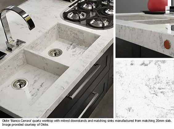 DuPont™ Zodiaq® Bianco Carrara - part of the Okite Collection of - moderne fliesenspiegel küche