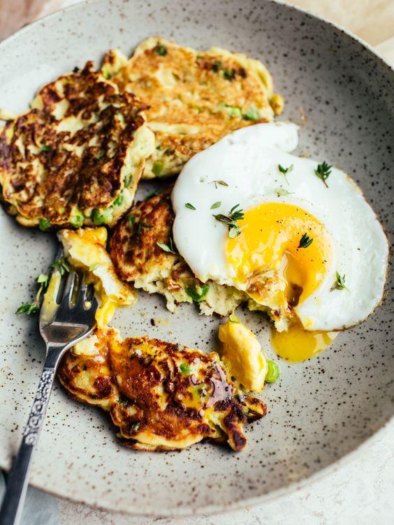 Potato pea & leek pancakes