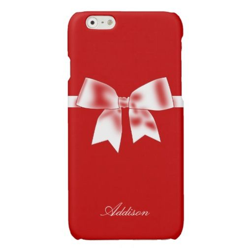 Personalized Red iPhone 6 Cases With Bow