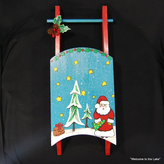 CHRISTMAS - Handmade and Handpainted Wooden Sled Decoration #Unbranded