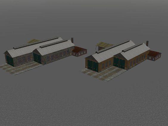Lokschuppen 4 ständig (Set). Ab #EEP8 http://bit.ly/Lokschuppen-4-ständig