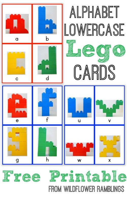 Alphabet Lego Cards: Lowercase {free printable!} - great idea! Children can build the letters with their own leg pieces as well