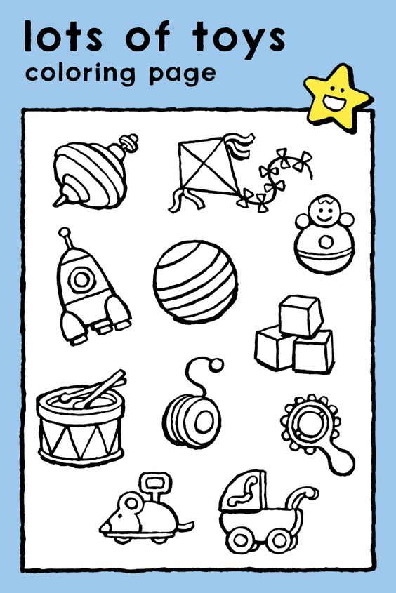 Lots Of Toys Coloring Pages Kids Toys Instruments Sport