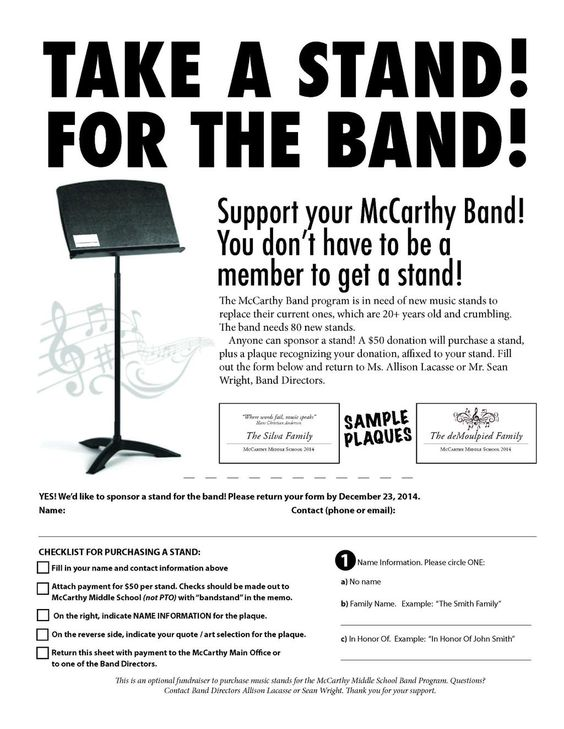 How to Run a Successful Band Booster Club With Band Parents - example sponsor form