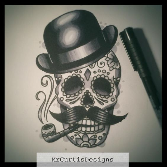 Gentleman Day of the Dead skull tattoo design by Matt Curtis.