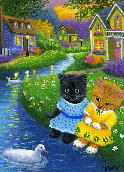 Kittens cats summer evening cottages ducks stream original aceo painting art #Realism