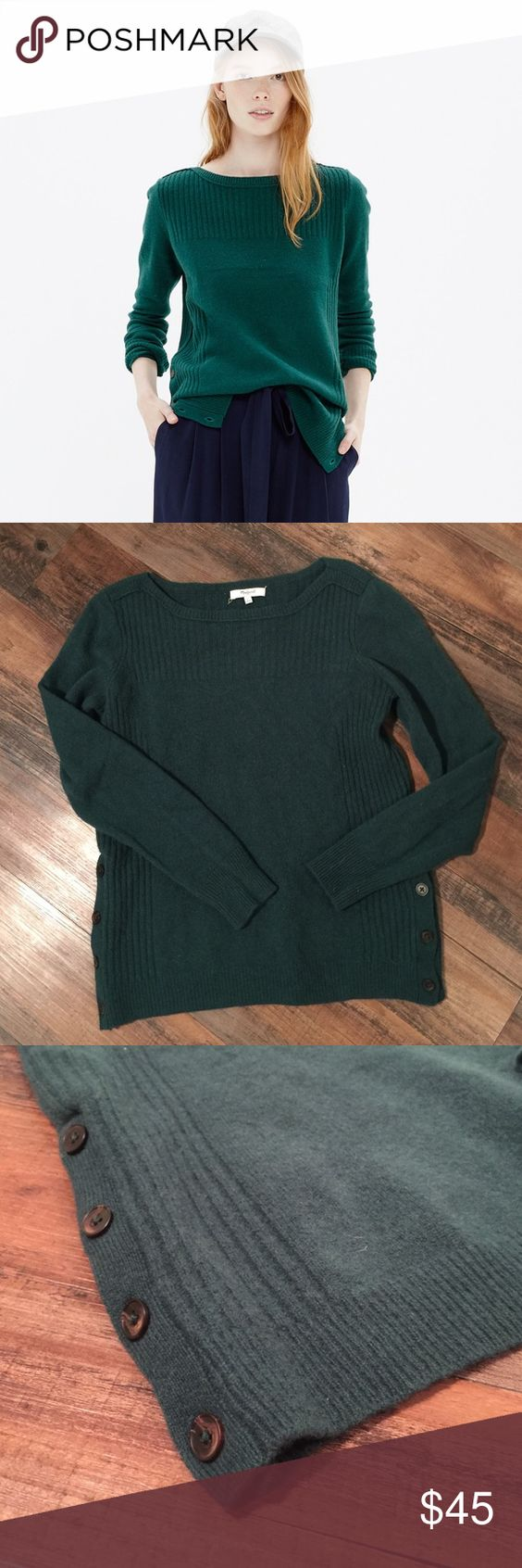 Madewell Pinewood Pullover Sweater Madewell Pinewood Pullover Wool Sweater.  Side button details.  Cozy.  100% wool.  Good condition. Madewell Sweaters Crew & Scoop Necks