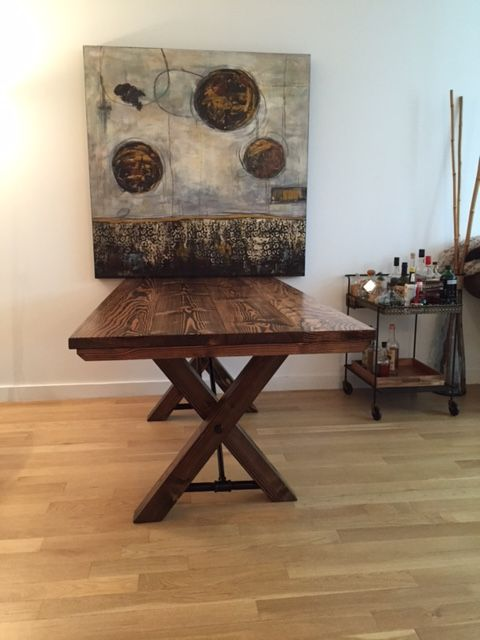 Industrial trestle table and pipes on pinterest for Solid wood farmhouse table