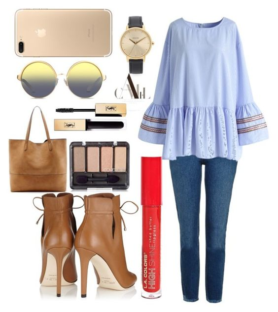 """""""Untitled #338"""" by samarjawaid ❤ liked on Polyvore featuring Topshop, Chicwish, Jimmy Choo, Sole Society, Matthew Williamson, L.A. Colors, Yves Saint Laurent and Nixon"""