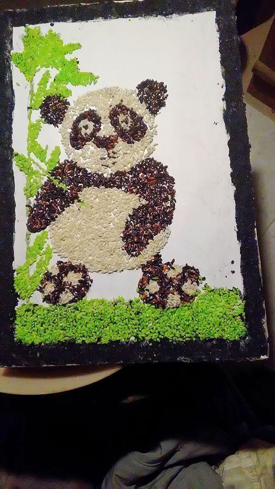 Gambar Kolase Panda Dari Biji Bijian Gambar Kolase Biji Bijian